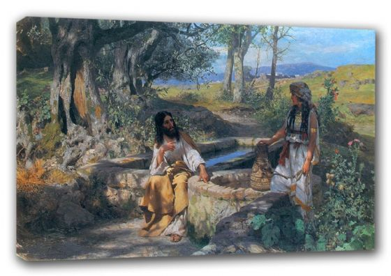 Siemiradzki, Henryk Hektor: Christ and the Woman of Samaria. Religious Fine Art Canvas. Sizes: A3/A2/A1 (00134)